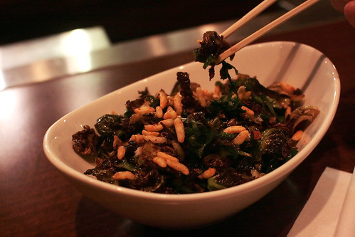 Fried Brussels Sprouts with Rice Puffs, Chilis, Mint | by Kathryn Yu