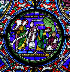 Petrus, Andreas, Jesus, Nathanael, Philipp, medieval stained glass detail, Canterbury Cathedral | by chrisjohnbeckett