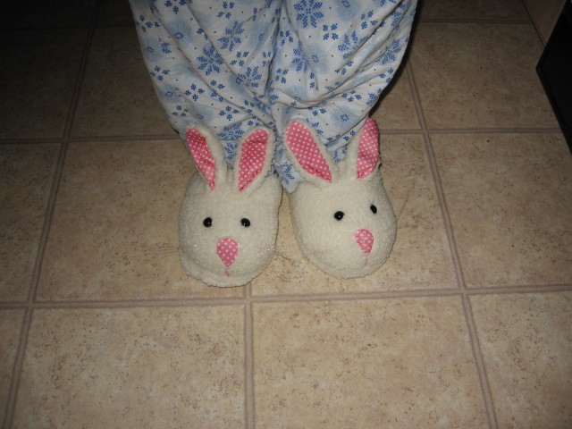 Angela's birthday bunny slippers