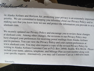 Privacy policy update from Alaska Airlines | by {Guerrilla Futures | Jason Tester}