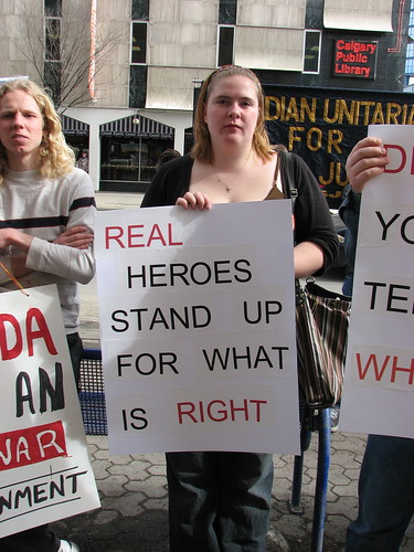 """Real heroes stand up for what is right"" 