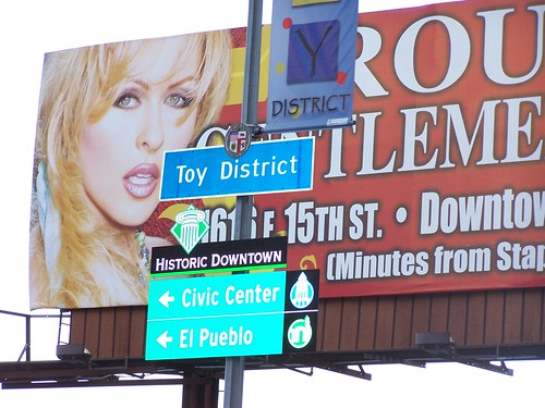 Toy District & Historic Downtown neighborhood sign | by awecelia