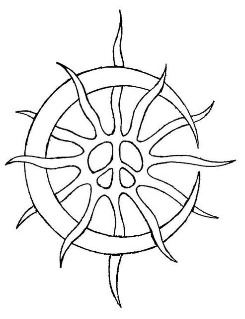 Line Art Moon : Tribal sun moon peace b w please visit my main gallery