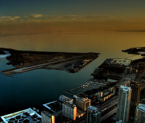 CN Tower - Lake Ontario and Toronto island airport | by simmogem