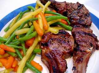 Lamb chops with string beans, wax beans, and carrots | by Alexandra Moss