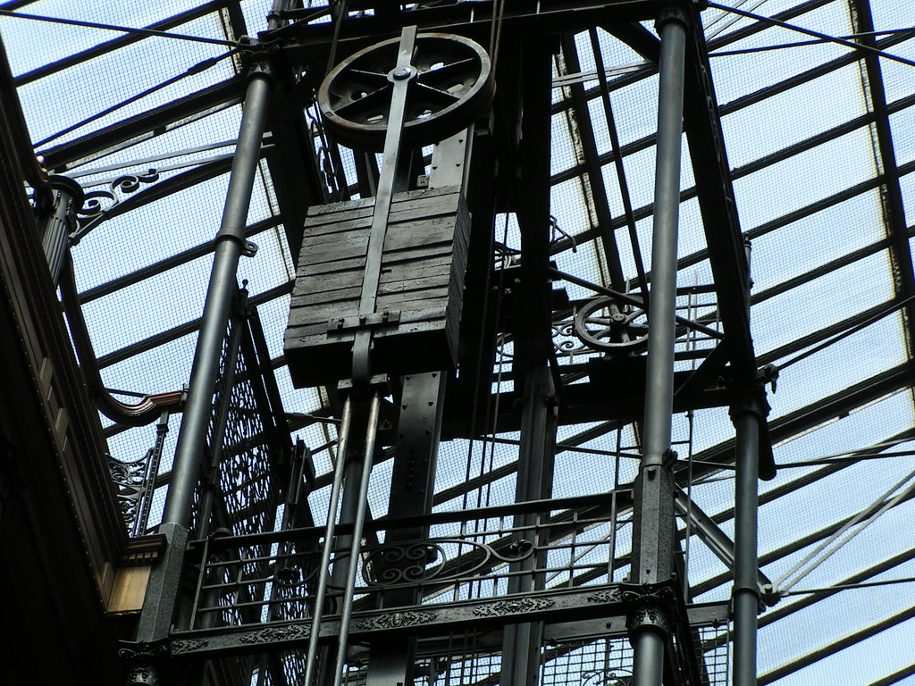 Elevator Mechanism At The Bradbury Building The Top Of