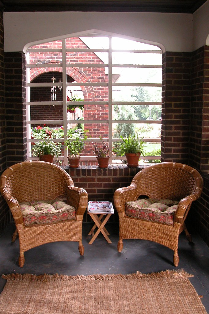Wicker chairs on our front porch these cute wicker for Front porch furniture sets