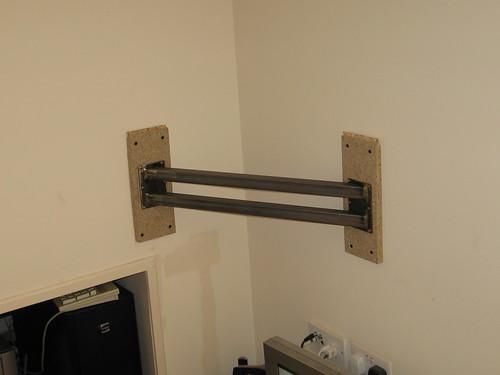 tv wall mount bracket a custom mount to hang my tv across flickr. Black Bedroom Furniture Sets. Home Design Ideas