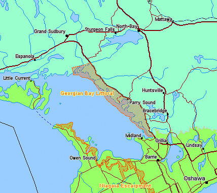 Map Georgian Bay Islands National Park