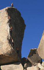 Climber on SW Corner (5.6) - Headstone Rock, Joshua Tree | by retro traveler