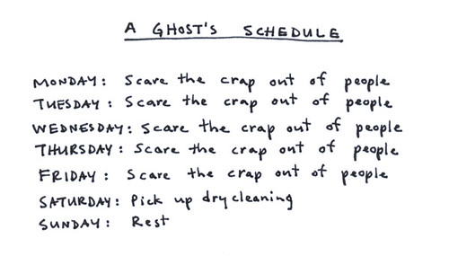 a ghost's schedule | by Marc Johns