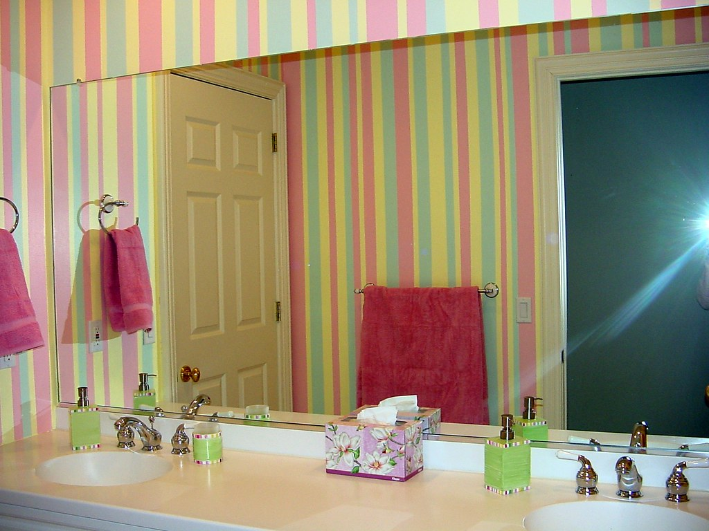 Girls Bathroom Not Wallpaper Here The Stripes Have
