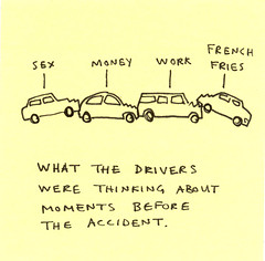 Post-it note drawing: accident | by Marc Johns
