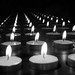 Reflecting candlelight in black and white