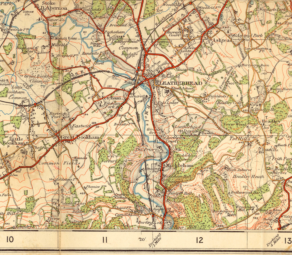 Old Os Maps old OS map of Leatherhead area c.1920    Old Os Maps