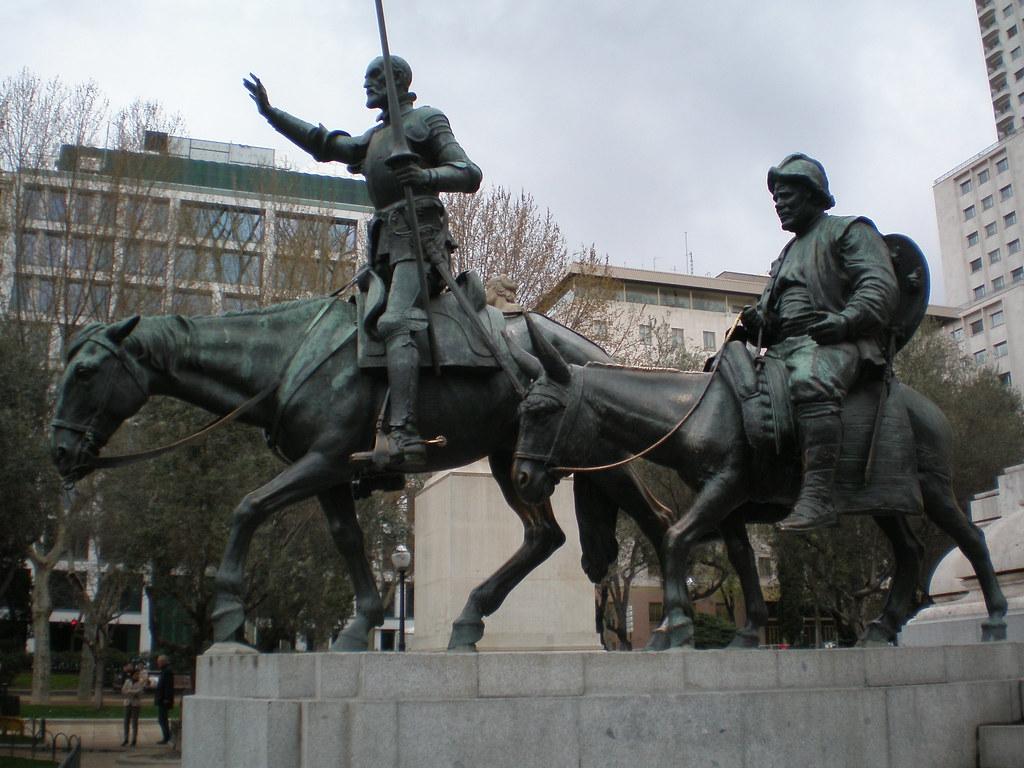 Don quijote y sancho panza monumento a cervantes plaza d - Hotel el quijote madrid ...