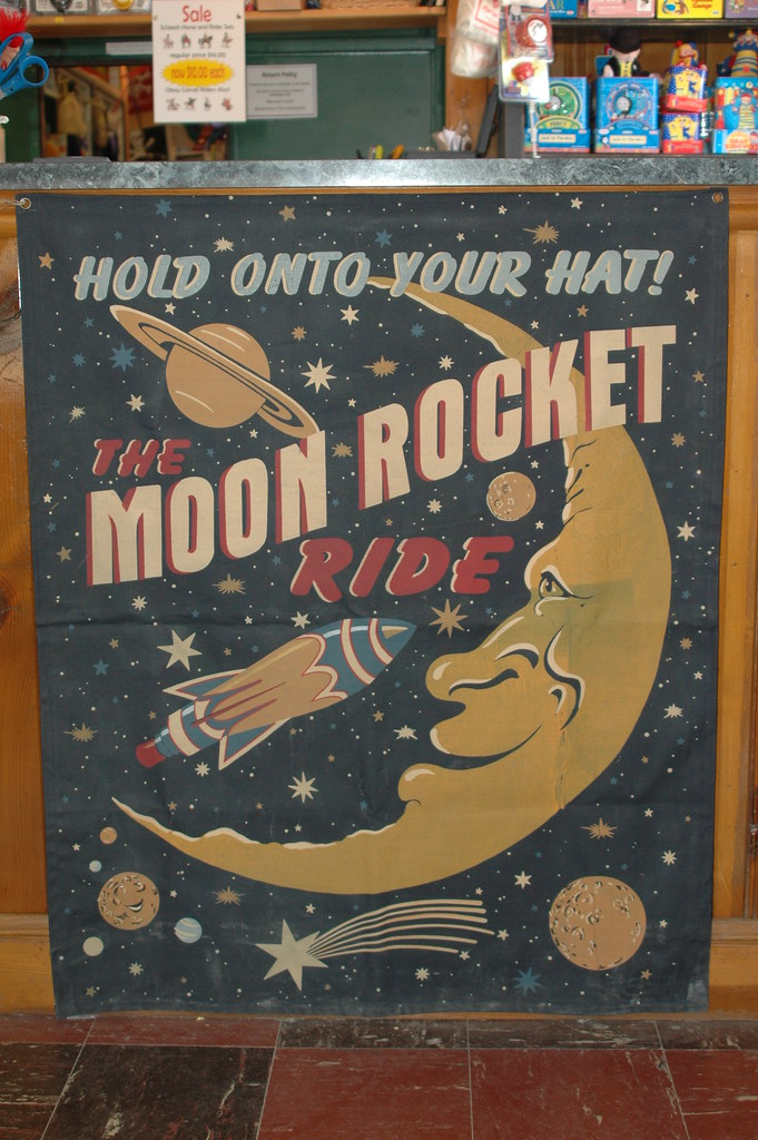 Vintage Moon Rocket Ride Poster At Moon Marbles I Love