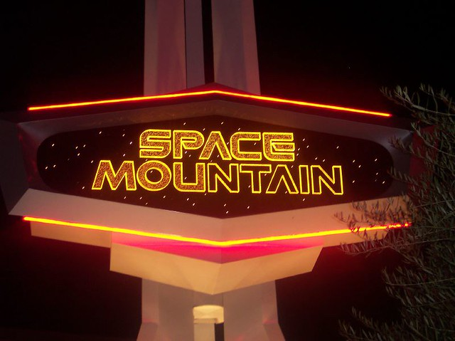 space mountain the sign lit up at night goldie flickr. Black Bedroom Furniture Sets. Home Design Ideas