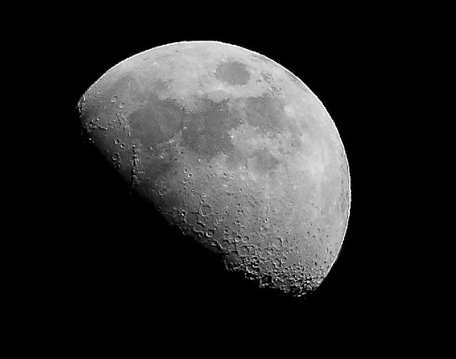 3/4 moon | Taken with my 300 mm lens and hand held. This ...