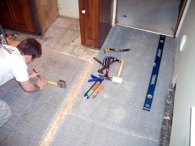 Putting Up Cement Board Shower : Installing the cement board gary kristie sullivan flickr