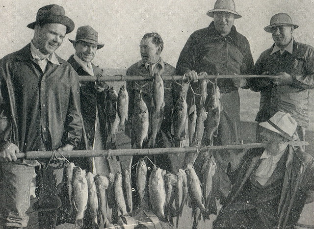 Vintage old time northern michigan fishing group don for Fishing times free