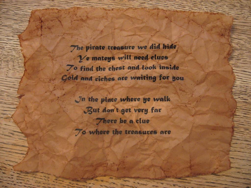 Treasure Hunt Clue 1 For Andrew S Birthday Pirate