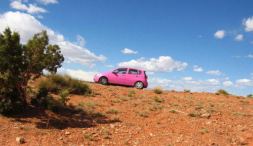 pink car in the escalante