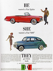 1960s Advertising - Magazine Ad - Fiat Spider & 600 (USA) | by ChowKaiDeng