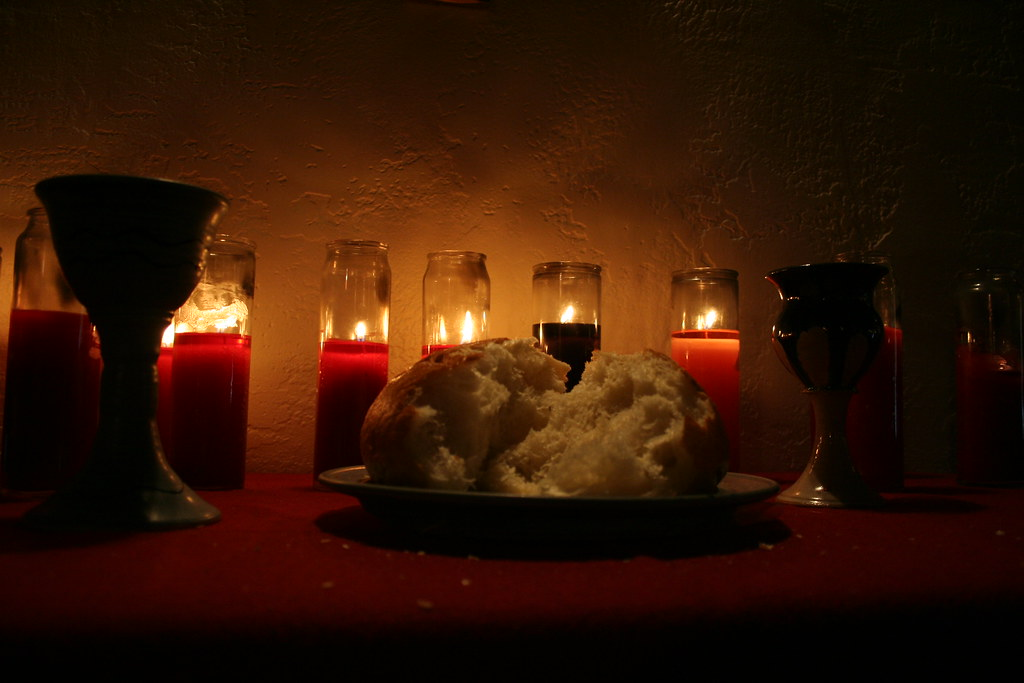 communion elements with candles