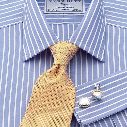Harry poplin blue stripe men 39 s formal shirt by charles tyr for Blue striped shirt with tie