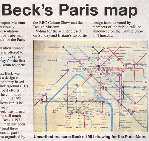 Harry Beck S Paris Map In Metro Newspaper From My London