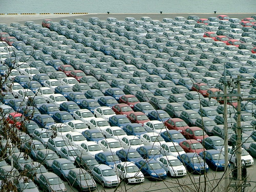 Loads of Cars ready for shipping in Incheon harbor. | Flickr