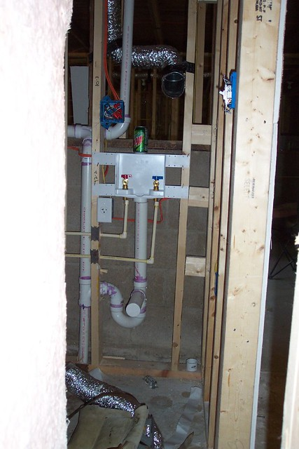 The washer dryer hookups  Here are the new washer/dryer hoo ...