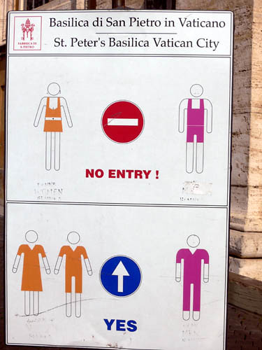 Restrictions Of Clothing Into The Vatican City