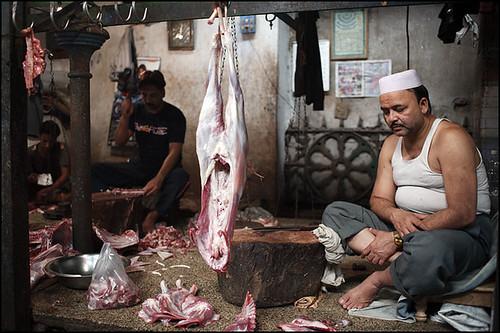 tired at the meat market - Kolkata India