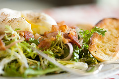 Frisee and Lardon Salad with Poached Egg | by Heather Christo