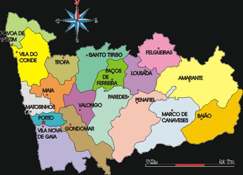 mapa concelhos porto DIST porto | mapa dos concelhos do distrito do Porto | mcamuflada  mapa concelhos porto