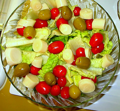 salad of romaine, grape tomatoes, hearts of palm, olives | by The Gifted Photographer