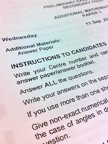 Exam Paper Instructions | A typical O-Level Additional ...