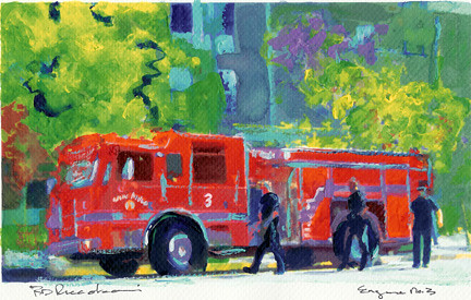 Painting By Rd Randy Riccoboni Fire Truck In Little Italy