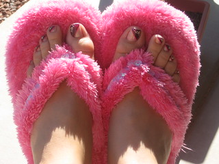 My new fuzzy pink slippers | by Rachel D