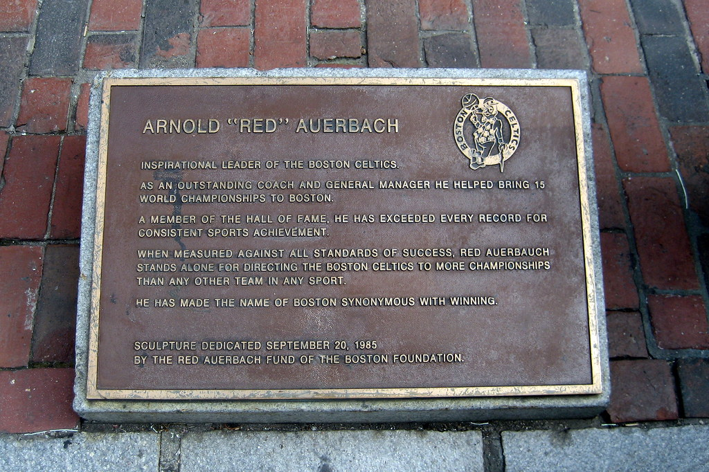 boston faneuil hall red auerbach plaque arnold quotred