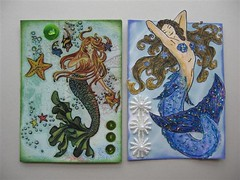 Mermaid Duo - ATCs | by seeshells_creations