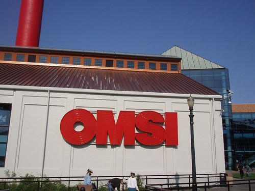 Front of OMSI with logo