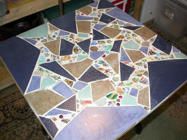 Tiled Kitchen Table Gray Black White Teal