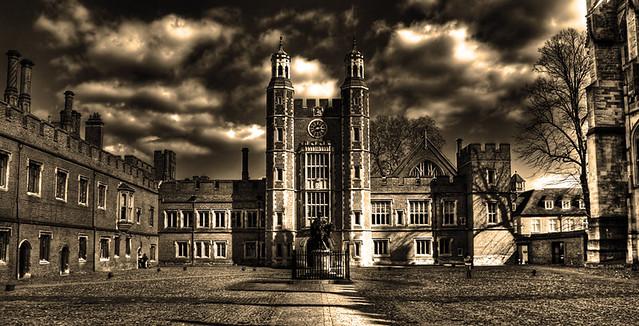 A college building in sepia tones