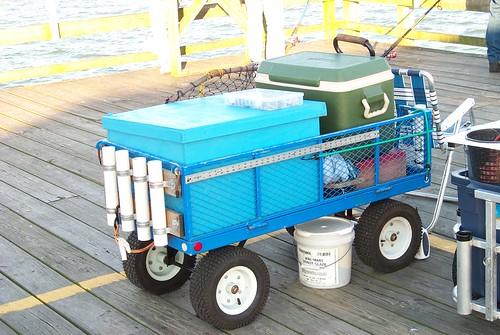 Springmaid pier someone 39 s fishing cart randy flickr for Pier fishing cart