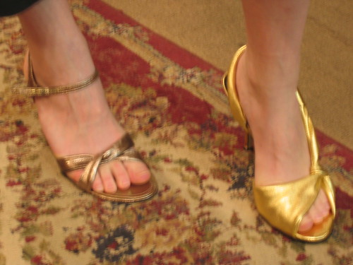 Courtney buys gold sandals | by judith