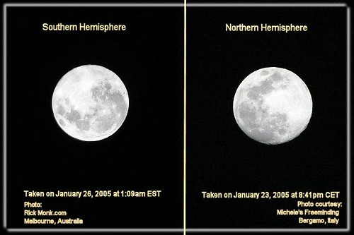 Image result for northern vs southern hemisphere moon