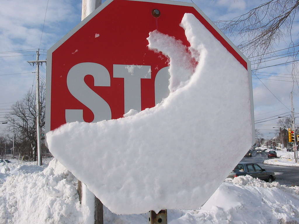 Image result for stop sign with snow